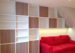 Roselier Agencement - Bibliothèques - Meuble en mélaminé blanc et chêne teinté avec éclairage Led Design Structure Réalisateur d'Espaces